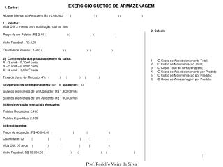 EXERCICIO CUSTOS DE ARMAZENAGEM
