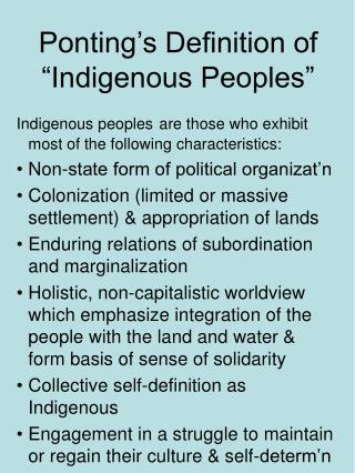 "Ponting's Definition of ""Indigenous Peoples"""