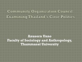 Community Organization Council: Examining Thailand's Civic Politics