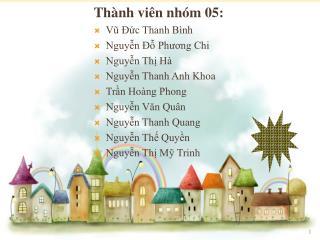 Thành viên nhóm 05: Vũ Đức Thanh Bình Nguyễn Đỗ Phương Chi Nguyễn Thị Hà Nguyễn Thanh Anh Khoa