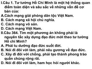III.Câu 65.  Hồ Chí Minh nghiên cứu vấn đề dân tộc ở phạm vi nào?