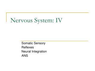 Nervous System: IV