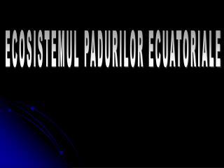 ECOSISTEMUL PADURILOR ECUATORIALE