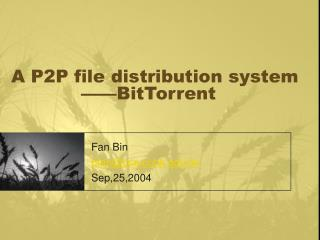 A P2P file distribution system  ——BitTorrent