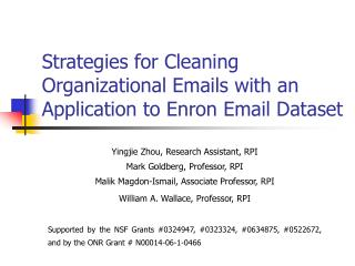Strategies for Cleaning Organizational Emails with an Application to Enron Email Dataset