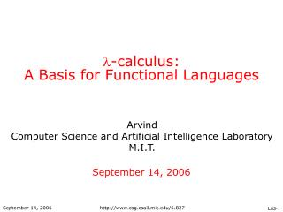  -calculus: A Basis for Functional Languages
