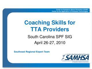 Coaching Skills for  TTA Providers