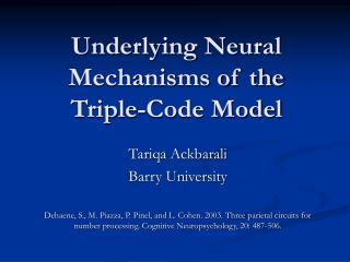 Underlying Neural Mechanisms of the  Triple-Code Model