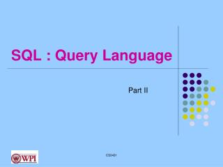 SQL : Query Language