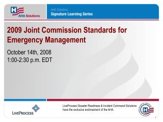 2009 Joint Commission Standards for Emergency Management