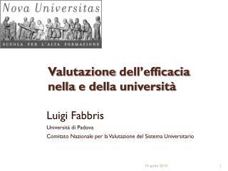 Valutazione dell'efficacia nella  e  della università