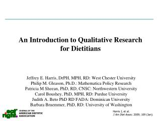 An Introduction to Qualitative Research for Dietitians