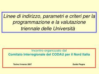 Incontro organizzato dal Comitato Interregionale del CODAU per il Nord Italia