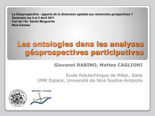 Les ontologies dans les analyses géoprospectives participatives