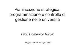 Pianificazione strategica, programmazione e controllo di gestione nelle università