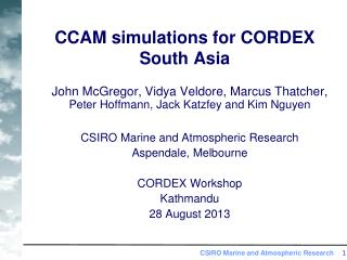 CCAM simulations for CORDEX South Asia