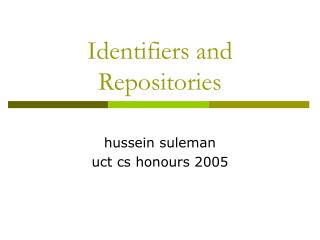 Identifiers and Repositories
