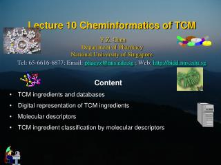 Content TCM ingredients and databases Digital representation of TCM ingredients