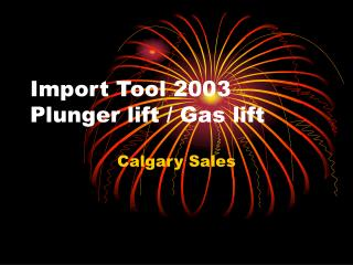 Import Tool 2003 Plunger lift / Gas lift