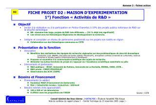FICHE PROJET D2 : MAISON D'EXPERIMENTATION 1°) Fonction «Activités de R&D»