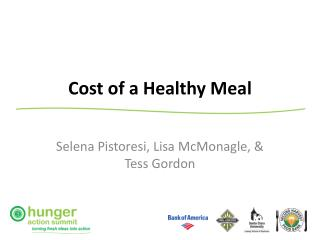 Cost of a Healthy Meal