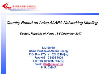 Country Report on Asian ALARA Networking Meeting