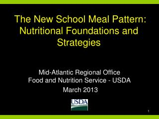 The New School Meal Pattern:  Nutritional Foundations and Strategies
