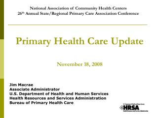 Primary Health Care Update November 18, 2008