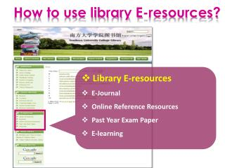 Library E-resources   E-Journal Online  Reference Resources Past  Year Exam Paper   E-learning