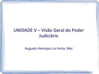 UNIDADE  V  –  Visão Geral do Poder Judiciário Augusto Henrique  Lio  Horta,  Msc