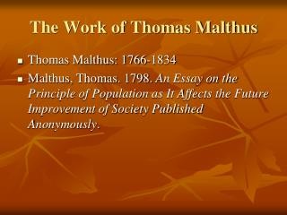 The Work of Thomas Malthus
