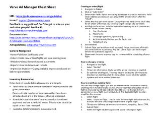Verve Ad Manager Cheat Sheet