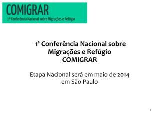 1ª Conferência Nacional sobre  Migrações e Refúgio   COMIGRAR