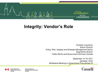 Integrity: Vendor's Role