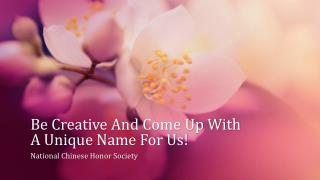 Be Creative And Come Up With A Unique Name For Us!