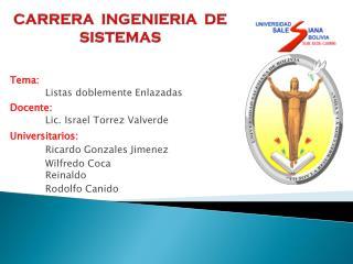 CARRERA  INGENIERIA  DE  SISTEMAS
