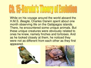 Ch. 15-Darwin's Theory of Evolution