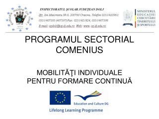 PROGRAMUL SECTORIAL COMENIUS