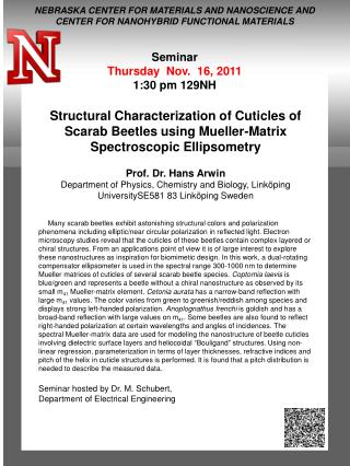 Seminar Thursday   Nov.  16, 2011 1:30 pm 129NH