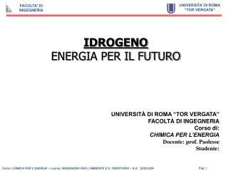 IDROGENO  ENERGIA PER IL FUTURO