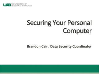 Securing Your Personal Computer