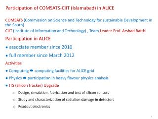 Participation of COMSATS-CIIT (Islamabad) in ALICE