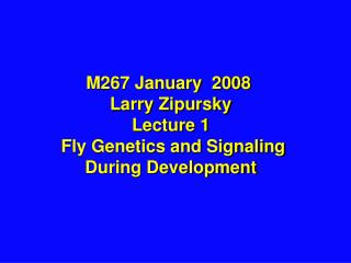 M267 January  2008  Larry Zipursky Lecture 1  Fly Genetics and Signaling During Development