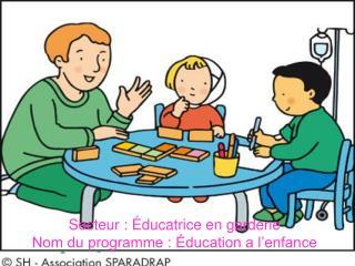 Secteur : Éducatrice en garderie Nom du programme : Éducation a l'enfance