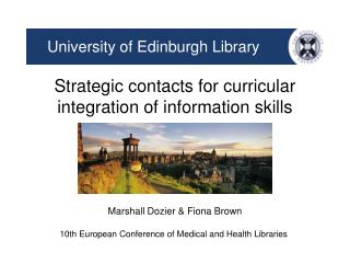 Strategic contacts for curricular integration of information skills