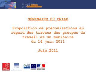 « Préconisations d'actions des groupes de travail en vue de la réunion du 4 juillet 2011»