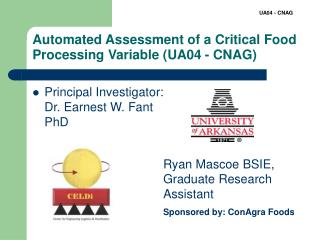 Automated Assessment of a Critical Food Processing Variable (UA04 - CNAG)