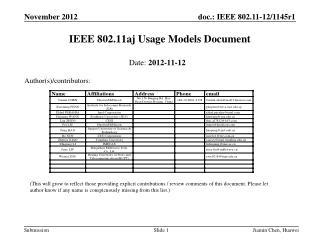 IEEE 802.11aj Usage Models Document