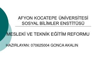 AFYON KOCATEPE ÜNİVERSİTESİ SOSYAL BİLİMLER ENSTİTÜSÜ