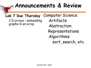 Announcements & Review